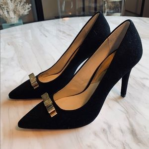 Michael Kors Black Suede Heel with Bow Detail